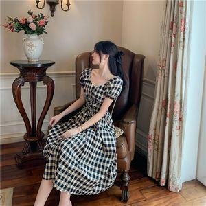 Summer 2020 Women Dress Plus Size M-4XL Female Dress Vintage Plaid Ladies Vestidos V-Neck Bow Black Color Robe Elegant Clothing