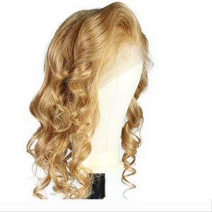 LIN MAN Blonde Lace Front Human Hair Wig Peruvian remy Hair wavy #27 Color Lace Wig Baby Hair Bleached Knots