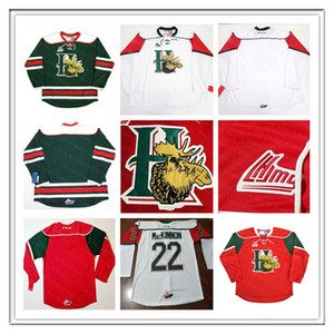 Pas cher QMJHL Halifax Mooseheads CCM Jersey 22 Nathan Mackinnon 13 Nico Hischier 27 Jonathan Drouin Rouge Blanc Vert Jerseys Hockey Custom