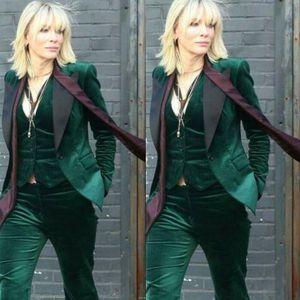 Velvet Women Green 3 Pieces Suit Business Office Work Suit Ladies Proms Tuxedos Customized top + pants + vest