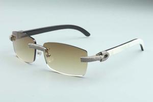 Unisex, boyutu için sıcak kare lens mikro açmıştı elmaslar güneş gözlüğü beyaz ve siyah karma doğal manda boynuzu tapınaklar M-3524012-c: 56-18-140