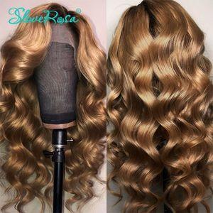 En gros vague profonde Ombre blonde brésilienne complète Lace Front Perruques Avec des cheveux de bébé 360 dentelle frontale Perruque synthétique préplumée pour les femmes