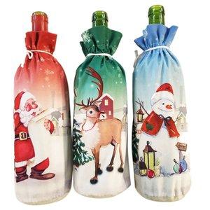 3Pcs Christmas Wine Bottle Dress Wine Bottle Cover Wine Coat Old Man Snowman Elk Print Bottle Dress Sets Xmas Party Decorations