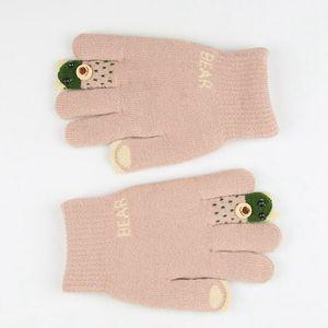 Luvas Luvas de inverno filhos adoráveis 3D Urso impressos Mittens crianças Knitting Plush aquecedores de mão