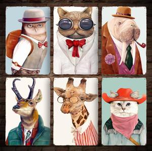 20 * 30cm Animais Vintage Retro metal Sign Poster Girafa Posters coruja gato Plaque Club Recados Início de arte de metal Pintura Wall Decor FFA975 100PCS