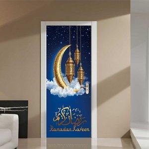 2 Pcs / Set Mousseline Porte Autocollants Islamique Sticker Mural Chambre Salon Décoration Papier Peint Affiche PVC Étanche Decal