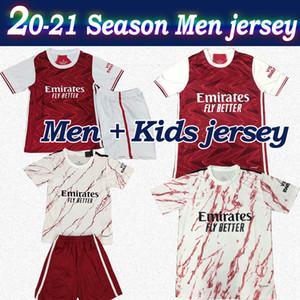 Artilheiro 2020 Homens camisa de futebol Início Red afastado camisa branca de futebol kit 20/21 miúdos com remendo artilheiro manga curta camisa de futebol personalizado Criança