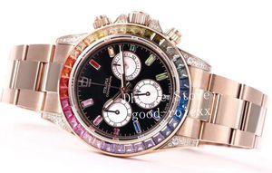 Top de luxe pleine de diamants Montres Hommes Pave automatique Cal.4130 Montre chronographe Homme 116598 Rbow Rose d'or BL 116595 usine Cosmograph ETA