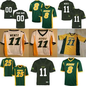 NCAA NDSU Bison # 11 Carson Wentz Mens Youth Womens Kinder Gelb Gold Grün Weiß Genäht North Dakota State College Fußball Trikots S-3XL