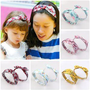 6set / lot Moda Faixa de Cabelo Headband Mãe Filho Define Headwear Ear Impresso Chefe Acessório Crianças Acessórios de cabelo Elastic