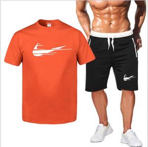 İki Adet Set Erkekler Kısa Kollu T Shirt Yaz Üst + Şort Erkek eşofman Güzel Tide Casual Spor Kısa pantolonlar Tops
