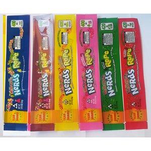 Nerds Rope bag vuoto Packaging 6 stili poliestere opzione foglio di Imballaggio per gli alimentari Nerdsrope gommosa sacchetto di caramelle sacchetto bordo di tenuta Tre MEDICATO