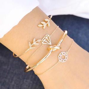 Hot Fashion Jewelry Bracelet Set Diamond Circle Chaim Bracelet Knot Leave Bangle Bracelets 4pcs set S362