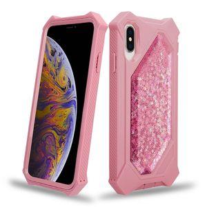 El caso más nuevo teléfono líquido con brillo Defender para iPhone 12 11 Pro Max Max XS XR X Plus 8 7 6 3D arena movediza Shining Stars cubierta protectora transparente