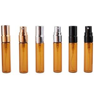 botellas de perfume recargable 5ML botellas de vidrio ámbar de aerosol 5ml marrón Emtpy con el casquillo plástico LX8425 14x76mm