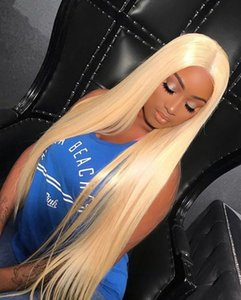 Blonde Hair Brazilian Straight Human Hair Wigs Blonde Color 613 Human Hair Lace Front Wigs Peruvian Indian