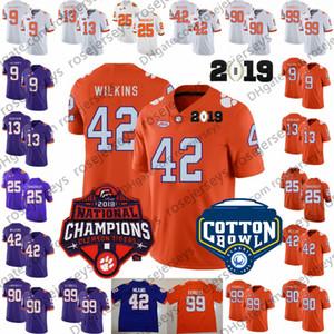 2019 Clemson Tigers # 13 Hunter Renfrow 42 Christian 90 Dexter Lawrence II 99 Клелин Феррелл Фиолетовый Белый Оранжевый Чемпионы Джерси