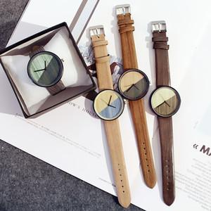 2020 Men Women Fashion Watches Graffiti Wooden Leather Band Watches Quartz Casual WristWatches Couple Watch Wrist Watch Clock Accessories