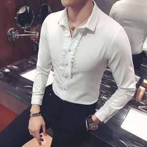 2019 Yeni Tuxedo Gömlek Dantel Yaka Benzersiz Tasarımcı Vintage Düğün Gömlek Uzun Kollu Slim Fit Gotik Erkekler Chemise Homme