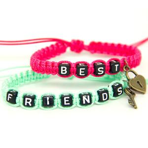 2pcs / pair Paar Armbänder Rose Red Best Lock und grüne Freunde Schlüssel Rope Chain Lovers personalisierte Geschenk handgemachte Charme-Armbänder