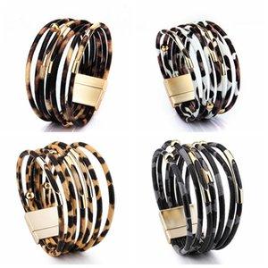 Couro Moda Leopard pulseira para mulheres Magnetic Clasp Braceletes Bangles elegante Multilayer wrap jóias pulseira presente