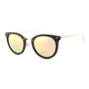 Dropshipping Skymood Vintage Women's Polarized ROSE Gold Tint Lens Cat Eye Steel Metal Ebony Wood Frame Sunglasses