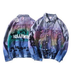 Erkek Denim Jeans Boyalı Renkli ceketler Coat Ripped eskitmek Hip-hop Sokak Punk Slim Fit