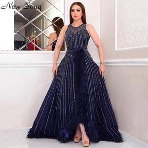 Navy Blue Luxury Beading Feathers Evening Dresses A Line O Neck Abiye Prom Dresses Formal Dresses Vestidos De Festa