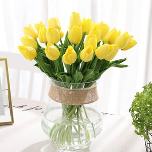 31Pcs lot Artificial Flowers Tulips PU Calla Fake Flowers for Wedding Decoration Table Car Home Party Decoration Party Favors