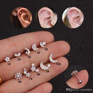 Fashion Zircon Moon Star Flower Tiny Cartilage Earring pentacle Cartilage Stud Ear Helix Piercing Jewelry Tragus Conch Earring Stud