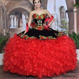 2020 nero e rosso dolce 16 Quinceanera Sweetheart del merletto del ricamo della ragazza Masquerade Organza abito da increspature del partito di promenade