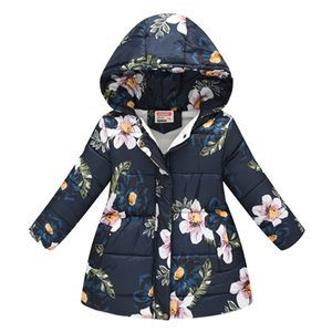 Toddler Kids Baby Girls Boys Floral Hooded Winter Warm Hooded Windproof Coat