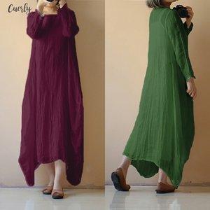 Women Vintage Cotton Dress Plus Size 2020 Summer Ladycasual O Neck Long Sleeve Solid Long Maxi Dress Beach Vestido