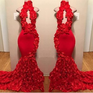 2019 Red Rose Mermaid Prom Dresses New Sexy collo alto Appliques Abiti da sera formale Sweep Train Vendita calda Cocktail Party Gowns