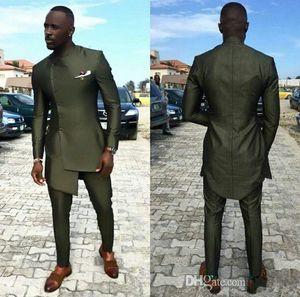 Ordu Yeşil 2019 Erkek Takım Elbise Slim Fit Smokin düğün parça ceket pantolon tasarımları Düğmeleri Mens Resmi Giyim Iki Adet (ceket + Pantolon)