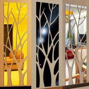 الحديثة الاكريليك مرآة الجدار ملصق للإزالة ملصق الفن جدارية الجدار ملصق الصفحة الرئيسية غرفة DIY ديكور شجرة شحن مجاني