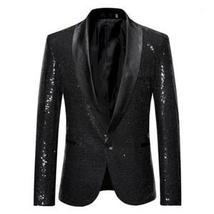 Un solo botón chaqueta para hombre de la chaqueta de las lentejuelas Plus Hommes sólido con la moda botón del diseñador chaqueta del juego de la etapa