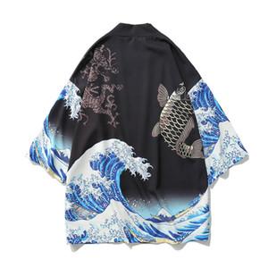 Апанский кимоно кардиган мужчины волна и карп печати длинный кимоно кардиган мужчины тонкий мужская куртка пальто 2019