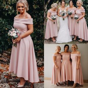 Новое Прибытие с плеча розовый Русалка платья невесты 2019 длина по щиколотку высокий низкий фрейлина платья BM0386