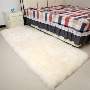 mat sofa pele branca shaggy ovelhas Praça verdadeira pele de carneiro cama da pele tapete ovelhas deslizamento tapete para decoração de casa