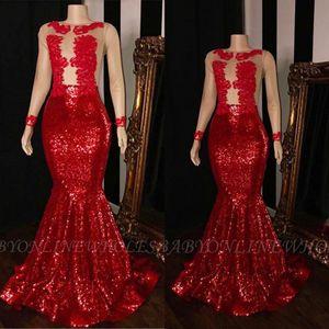 Red Prom Dresses a sirena con paillettes per ragazze nere 2019 Sexy Sheer maniche lunghe abiti da sera africani applique pizzo robe de soiree BC1915