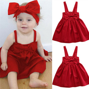 Baby-Kleinkind-Sommer Sundress Nettes Mädchen bowknot rotes Kleid Adjustable Short Mini-Weste-Kleid Prinzessin Outfit