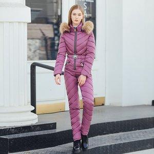 Women down jacket suit warmly winter Siamese down-padded thicken fashioncollect waist slim ski suit with belt