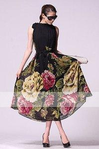 Яркий большой цветок Boho шифон вечернее пляж платье бальное платье подол партии шик е