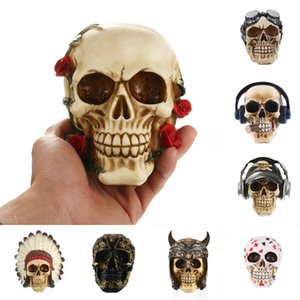 Creative Resin Skull Rose Statue Halloween Sculpture Home Office Desk Decor Toy Birthday Gift Halloween Party Decoration
