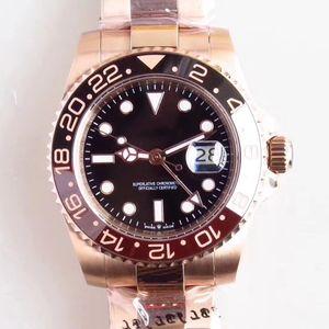 mans U1 progettista 2813 automatico orologi meccanici quadrante nero funzione Rose Gold GMT pieno da 40 mm in acciaio inox super luminoso impermeabile