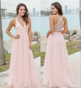 Meat Pink Chiffon Country Bridesmaid Dresses Summer Beach Formal Maid Of Honor Gowns Custom Made Wedding Guest Dresses
