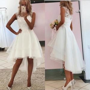 2020 new sexy simples lace curto vestidos de noiva de praia alta baixo barato país curto vestidos de noiva
