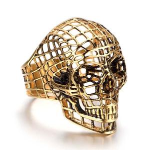New Hiphop Cool Death Head Skull Head Ring Anello da intaglio gotico da uomo in acciaio inossidabile 316L Griglia cava Anello da teschio Accessori per gioielli di Halloween