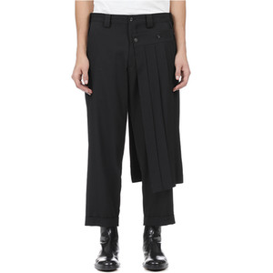 , Дубль мужские брюки юбка брюки и девять пунктов конусные бобины брюки, деконструкции вертикальный разрез Йоджи весной брюки. S-9XL !!